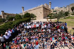 Hebron Community on the steps of the Tomb of the Patriarchs