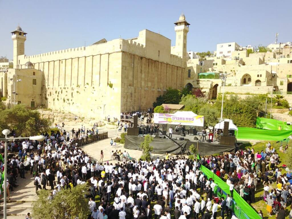 The crowd gathers for the annual Passover concert on the steps of the Tomb of the Patriarchs and Matriarchs