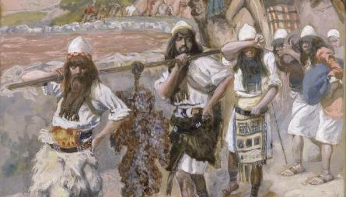 (Painting: The Grapes of Canaan, c. 1896-1902, by James Tissot, a French painter who visited Israel. Credit: Wiki Commons / The Jewish Museum)