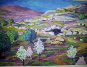 (Photo: Depiction of what the Cave of Machpela may have looked like before King Herod's ediface. was built over it, painted by a local Hebron artist.)